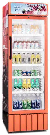 350L Low Power Low Noise Plastic Inner Single Glass Door Display Fridge / Beverage Cooler